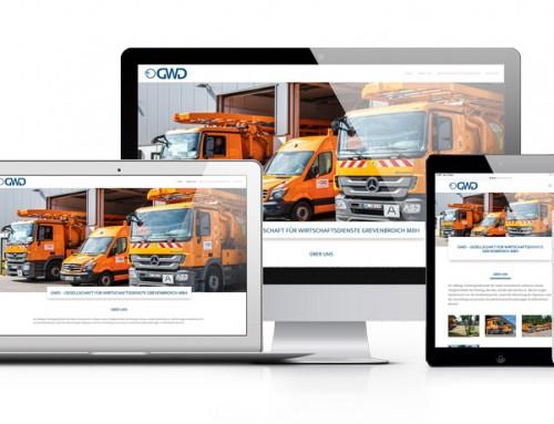 Landingpage, Logo und Druckvorlagen für GWD – Gesellschaft für Wirtschaftsdienste Grevenbroich mbH