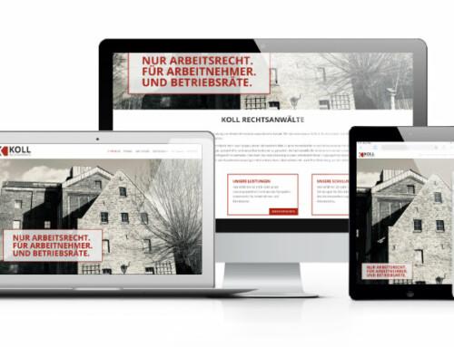 Internetauftritt für die neu gegründete Kanzlei Koll Rechtsanwälte in der Gustorfer Wassermühle