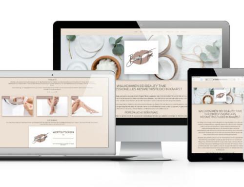 Webseite für das Kosmetikstudio Beauty Time in Kaarst
